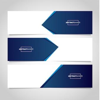 Blauwe en witte banner