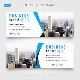 Blauwe en witte bedrijfsbanner