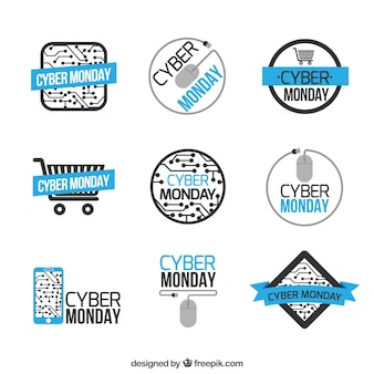 Blauwe en witte cyber maandag etiketten