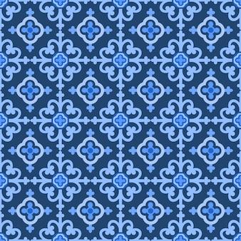Blauwe en witte damast bloemenachtergrond.