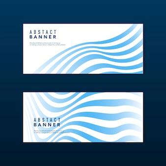 Blauwe en witte gestreepte abstracte bannervectoren