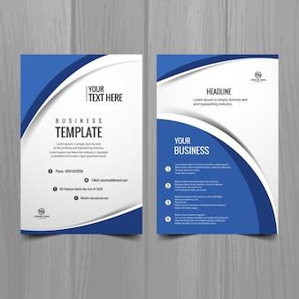 Blauwe en witte golvende brochure sjabloon