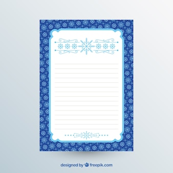 Blauwe en witte kerst briefsjabloon