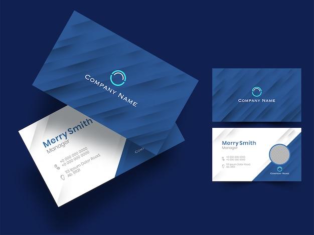 Blauwe en witte kleur lay-out bedrijfskaart of visitekaartje set