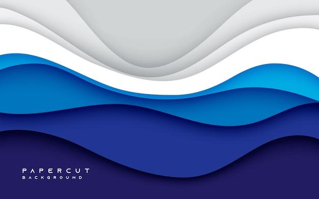 Blauwe en witte kleur papercut achtergrond concept