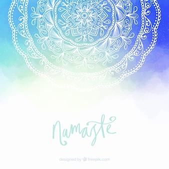 Blauwe en witte mandala achtergrond