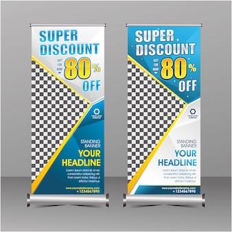Blauwe en witte moderne geometrie staande rollup banner sjabloon super speciale aanbieding verkoop korting
