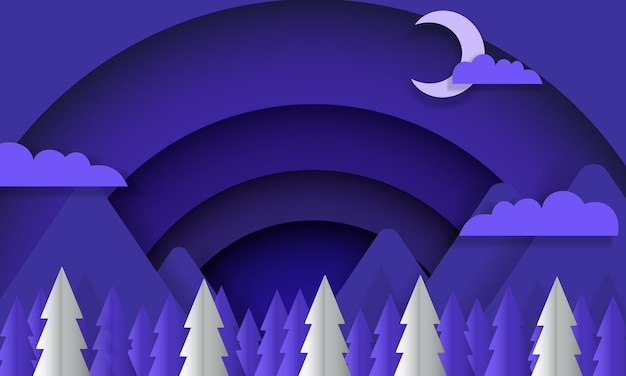 Blauwe en witte mooie nacht met bergboomwolk en maan in papierstijl