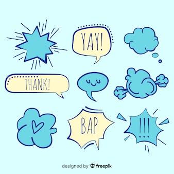 Blauwe en witte praatjebellen met uitdrukkingen