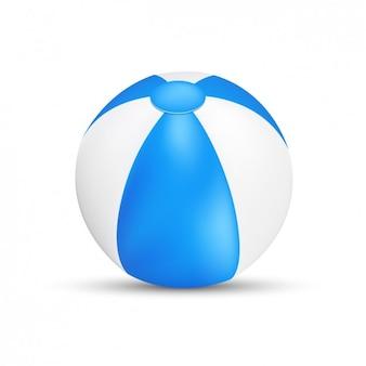 Blauwe en witte strandbal