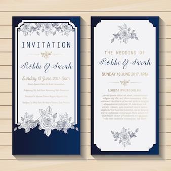 Blauwe en witte trouwuitnodiging