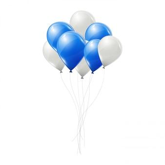 Blauwe en witte vector ballonnen.