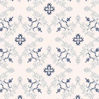 Blauwe en witte vector vintage bloemen achtergrondafbeelding