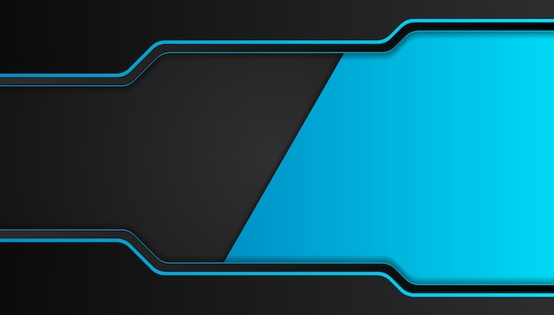 Blauwe en zwarte abstracte metalen frame lay-out ontwerp tech innovatie concept achtergrond
