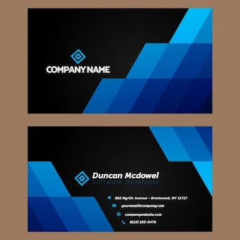 Blauwe en zwarte adreskaartje