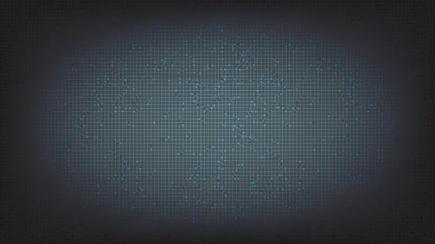 Blauwe en zwarte circuit-microchip over technologie, hi-tech digitaal en beveiligingsconceptontwerp