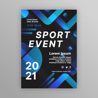 Blauwe en zwarte sportevenement poster sjabloon