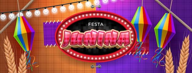 Blauwe festa junina-banner met slingers