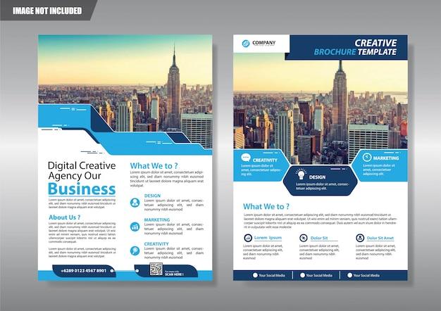 Blauwe flyer zakelijke sjabloon voor brochure bedrijf