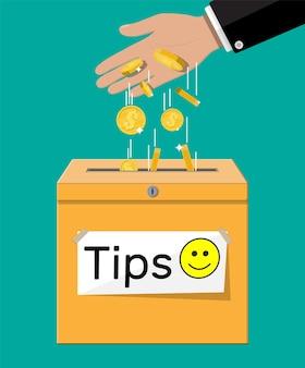 Blauwe fooiendoos vol contant geld. bedankt voor de dienst. geld voor onderhoud. goede feedback of donatie. fooi concept. vectorillustratie in vlakke stijl