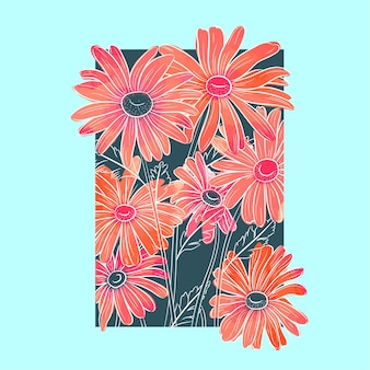 Blauwe foto met bloemen in aquarel