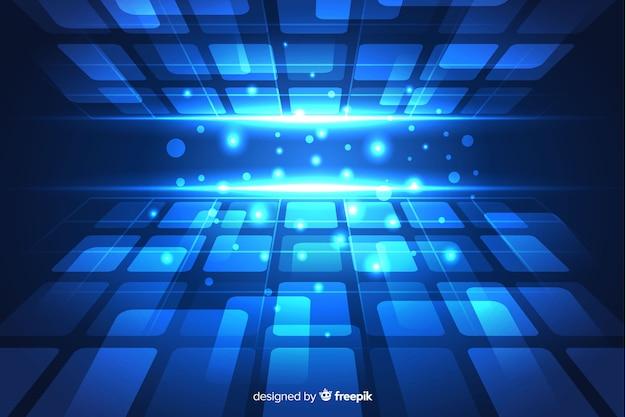Blauwe futuristische horizonachtergrond met vormen