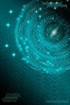 Blauwe futuristische technologische achtergrond in cyberpunkstijl. digitale kunst. ontwerp van ansichtkaarten, poster, banner. vector illustratie.