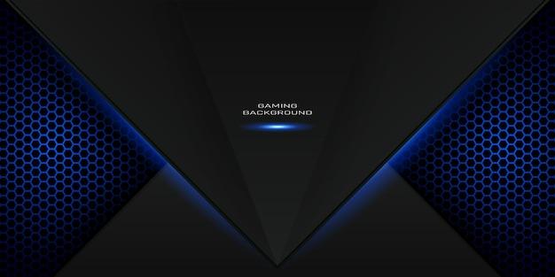 Blauwe gamingachtergrond met zeshoekig patroon