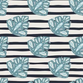 Blauwe gebladerte abstracte folk monstera vormen naadloos patroon in doodle stijl