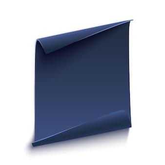 Blauwe gebogen papier banner op wit.