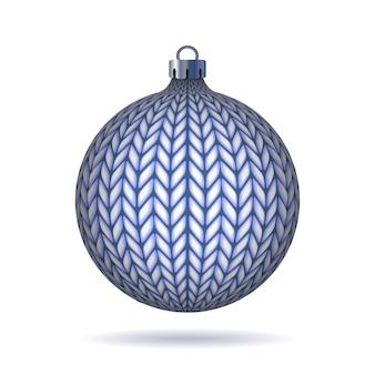 Blauwe gebreide kerstbal. illustratie.