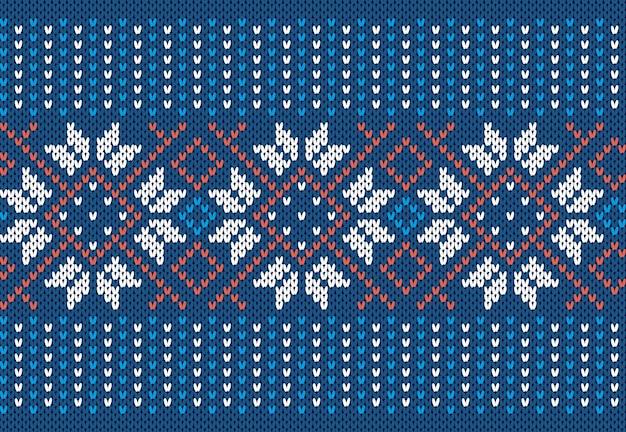 Blauwe gebreide naadloze print. kerst patroon. feestelijke gebreide trui textuur.