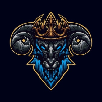 Blauwe geit met kroon logo mascot illustrator