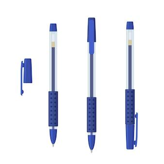Blauwe gelpennen in transparante kunststof koffer met rubberen gripset. schrijven van school- en kantoortools collectie. platte vectorillustratie geïsoleerd op een witte achtergrond