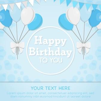 Blauwe gelukkige verjaardagskaart