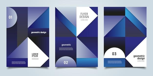 Blauwe geometrische achtergrond folder sjabloon