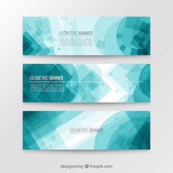 Blauwe geometrische banner collectie