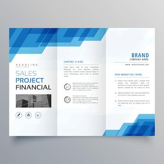 Blauwe geometrische driebladige zakelijke brochure ontwerpsjabloon