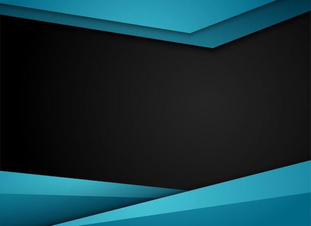 Blauwe geometrische en overlappende laag op grijze achtergrond,