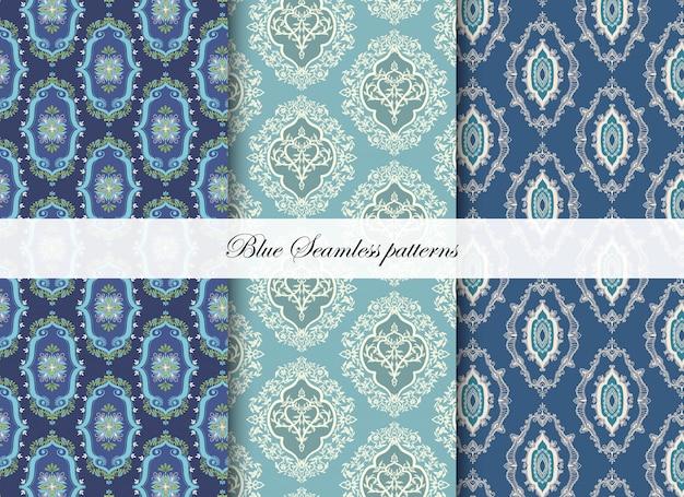 Blauwe geometrische naadloze patronen