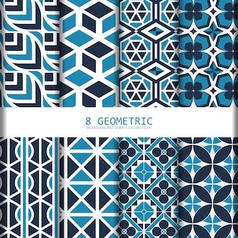 Blauwe geometrische naadloze patrooninzameling