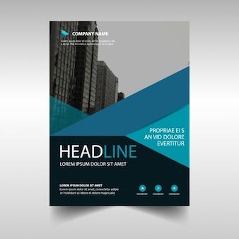 Blauwe geometrische zakelijke brochure sjabloon
