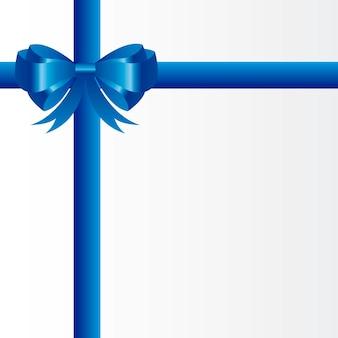 Blauwe geschenk boog over witte achtergrond lege kaart vector