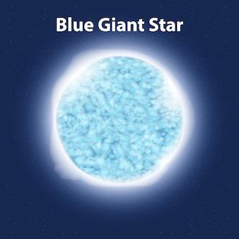 Blauwe gigantische ster in een donkere ruimte