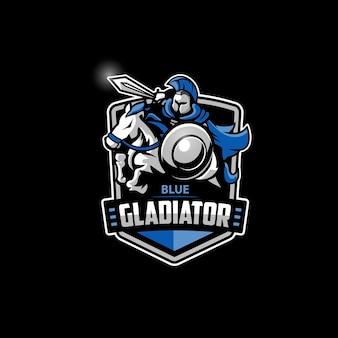 Blauwe gladiator met paard esports-logo