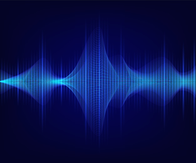 Blauwe glanzende geluidsgolf op donkere achtergrond.