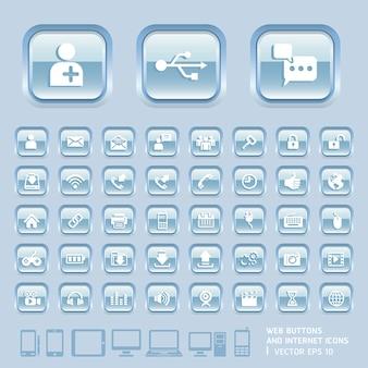 Blauwe glazen knoppen en internetpictogrammen voor web, applicaties en mobiele tablet