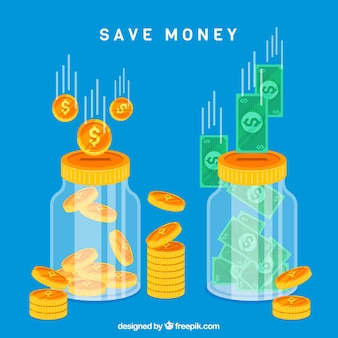 Blauwe glazen potten achtergrond met munten en bankbiljetten