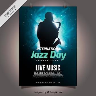 Blauwe glimmende poster met saxofonist silhouet