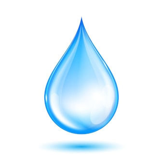Blauwe glimmende waterdruppel